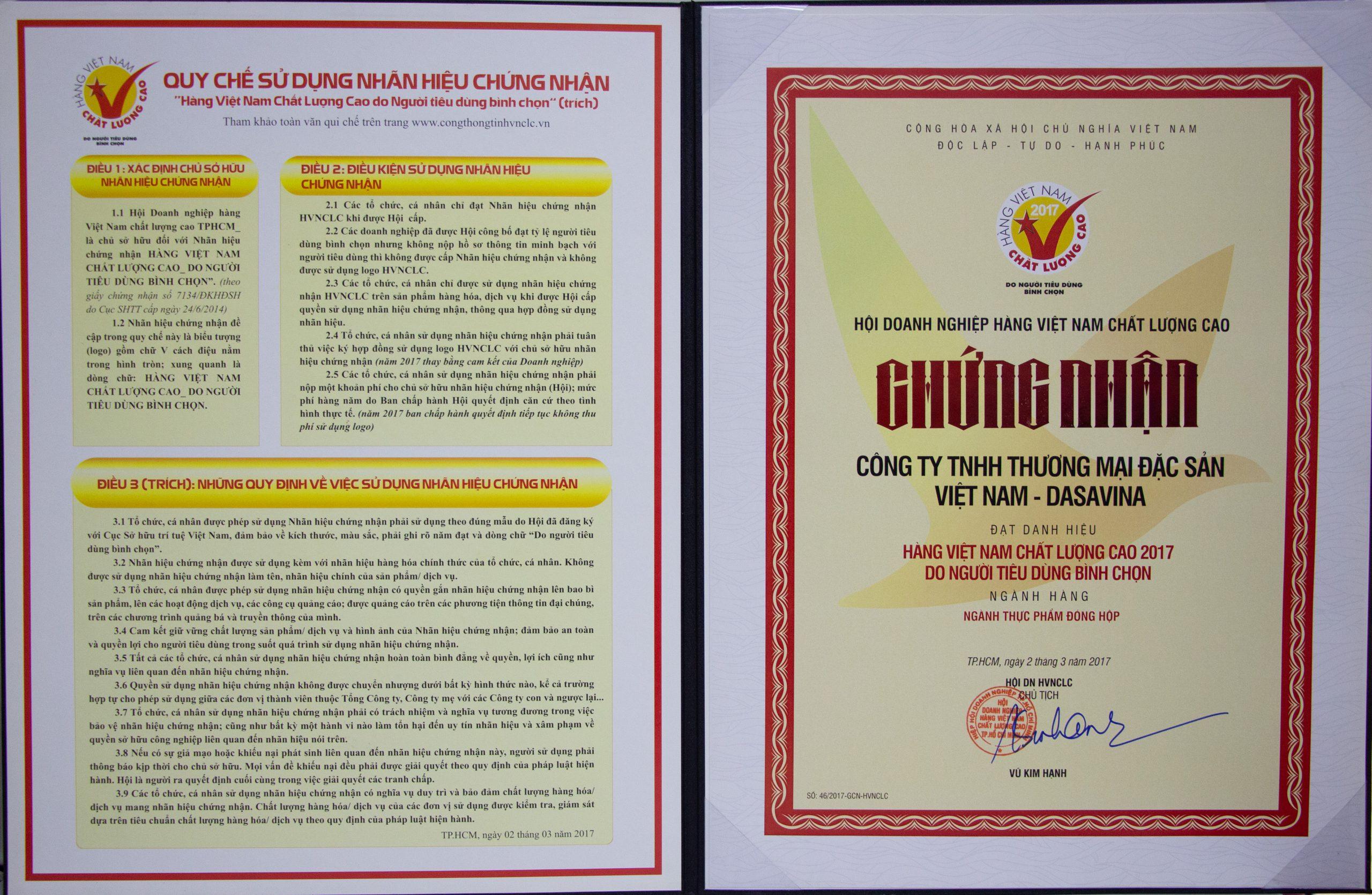 Chứng nhận hàng Việt Nam chất lượng cao do người tiêu dùng bình chọn 2017